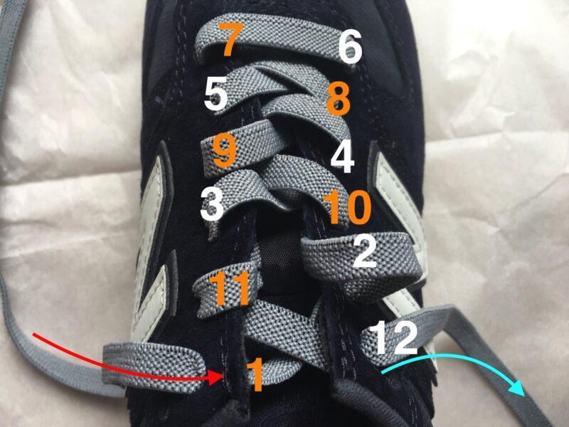 靴紐を引く順番