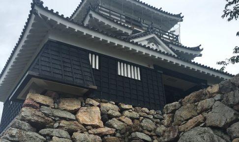 浜松城天守閣と石垣を下から見上げる