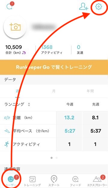 RunKeeper日本語のユーザー画面