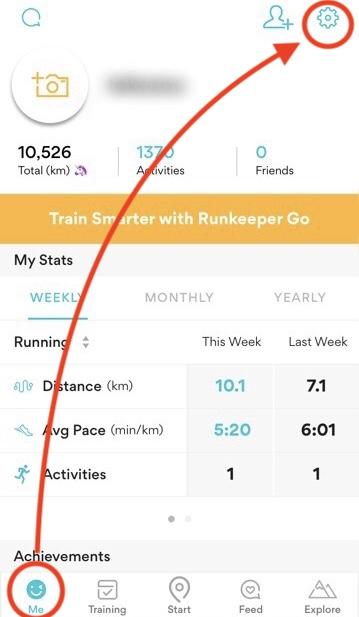 RunKeeper英語のトップ画面