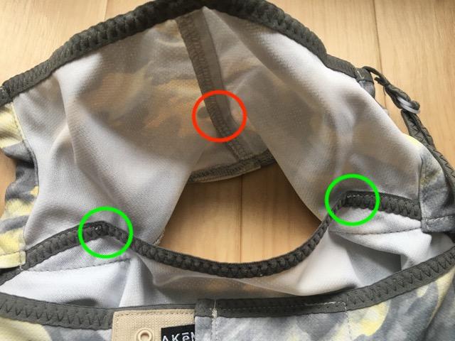 ヤケーヌの開口部分、ワイヤー、縫い止まりの位置