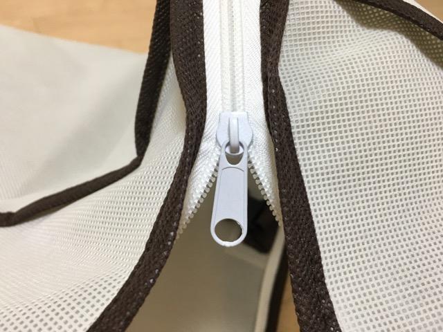 布団収納袋のファスナー拡大図