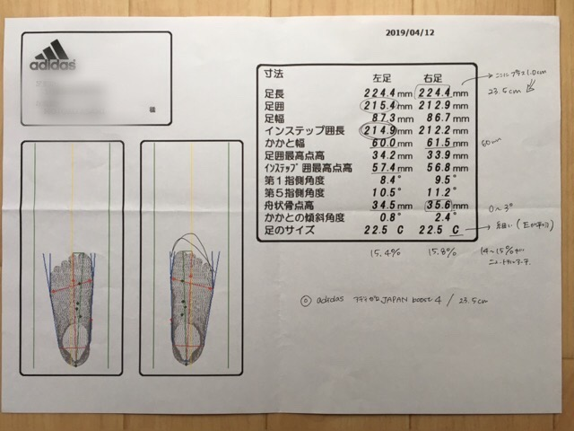 B&D アディダス測定器での足計測結果