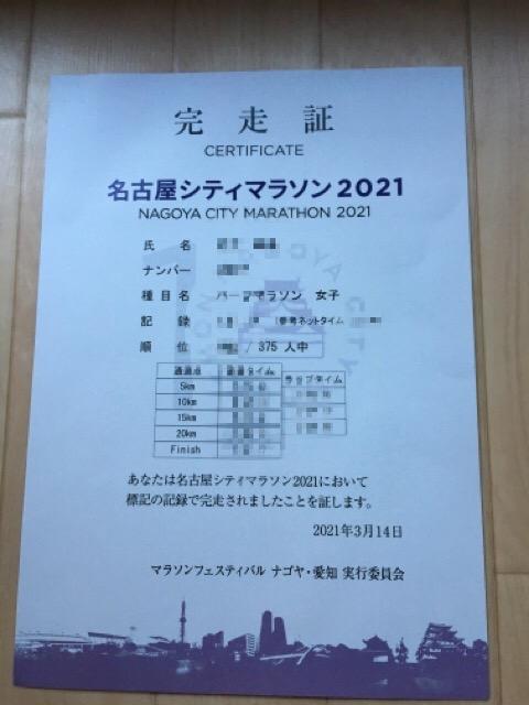 名古屋シティハーフマラソン2021完走証