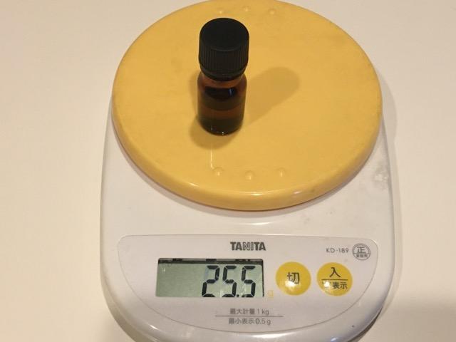 5ミリの精油瓶の重さは25.5グラム